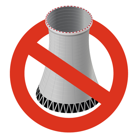 Prohibition of nuclear power plant. Strict ban on construction of atomic cooling tower, forbid. Stop electricity caution. Vector concrete thermal power tower warning, white background, isometric