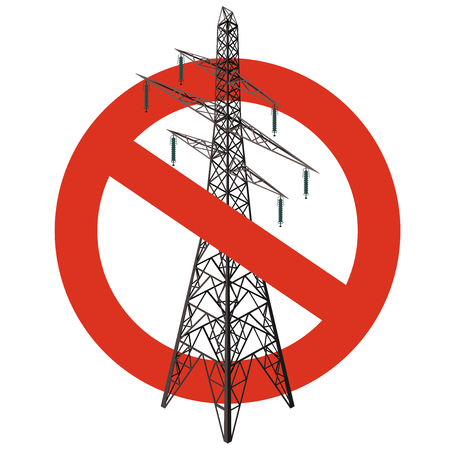 Prohibition of power lines. Strict ban on construction of electric pylons. Stop electricity caution. Vector high voltage pylon warning, white background, isometric. Voltage field forewarn, isolated.
