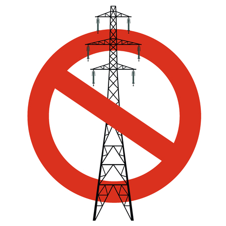 Prohibition of power lines. Strict ban on construction of electric pylons. Stop electricity caution. Vector high voltage pylon warning on white background. Voltage field forewarn, isolated. Stock Illustratie