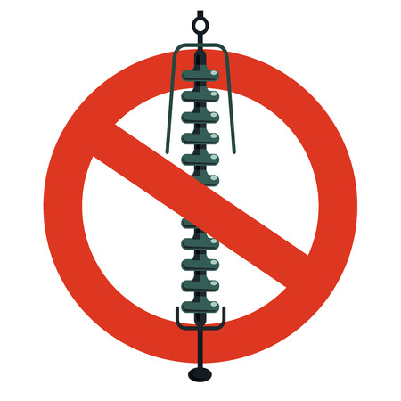 Prohibition of ceramic insulation component, electrical wiring. Strict ban on construction of electric pylons. Stop electricity caution. Vector high voltage pylon warning, white background, isolated. Illustration