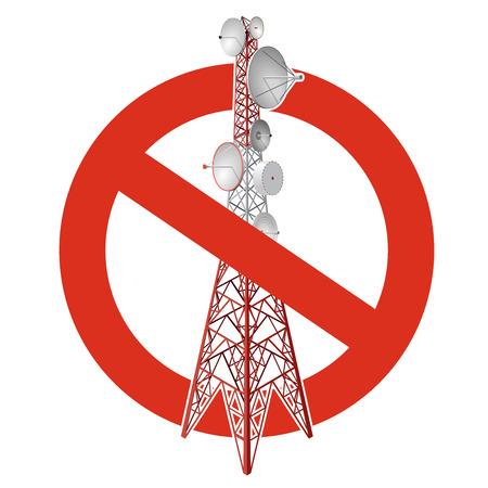 Zakaz wieży satelitarnej. Surowy zakaz budowy słupów wież transmisyjnych. Zatrzymaj telefon, telewizja sygnalizuje ostrożność. Wektor wieża komunikacyjna czerwono-biała, białe tło, izometryczny.