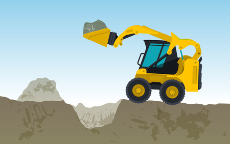 Yellow excavator digs a hole, bagger is excavating, ground works. Construction machinery in action. Construction machine works on foundation flatten banner, illustration master vector. Illustration