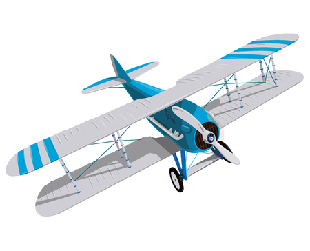 Biplane with blue and white coating. Model propeller with two wings. Plane from World War. Old retro aircraft. Jet designed for poster printing. Beautifully drawn vector flying biplane.