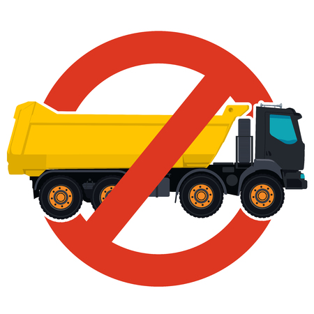 Prohibition of trucks entry symbol. Heavy vehicles strict ban sign. Caution of construction machinery, ground works. Construction work forbid. Vector yellow big truck icon. Isolated, white background