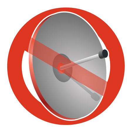 Prohibition of satellite dish strict ban on construction of transmission antenna, forbid. Stop telephone and television signals vector communication antenna sign, wireless technology, TV receiver. Vectores