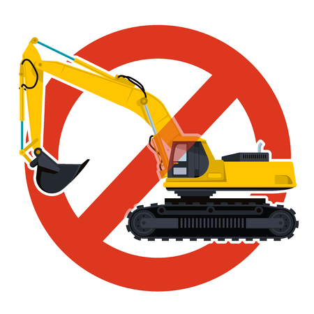 Prohibition of excavation work symbol. Dredging strict ban sign. Caution of construction machinery and ground works.
