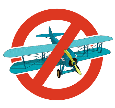 Prohibition of biplane. Strict ban on construction of aircraft with two wings, forbid. Stop World War. Beautiful jet realistically drawn vector flying blue biplane. Old retro aircraft, isolated.