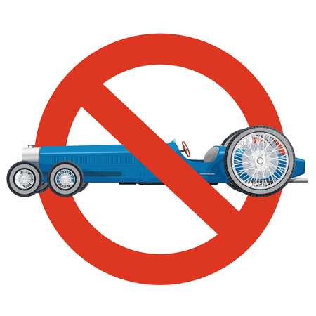 Prohibition of overly long cars. Strict ban on construction of limousine, forbid. Stop long vehicles. Blue car, isolated on white background. Historic master vector illustration.  イラスト・ベクター素材
