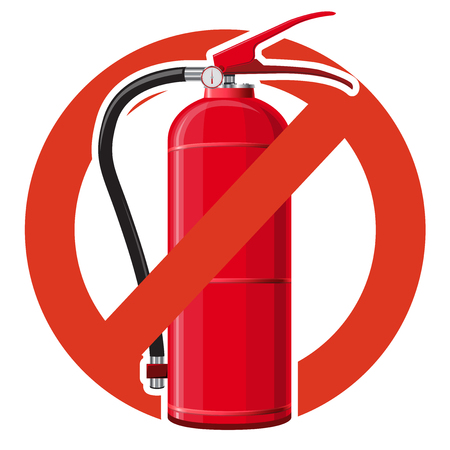 Prohibition of extinguishing fire equipment. Strict ban on water extinguishing, forbid. Stop firefighting. Master vector illustration, isolated on white background.