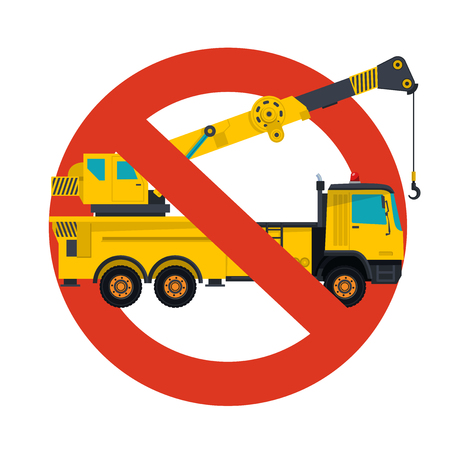 Prohibition of crane work symbol. Illustration