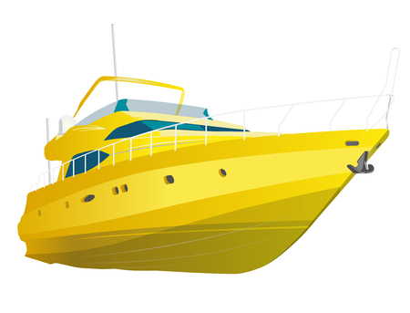 Yellow motor boat. Vector illustration, isolated on white background. Stock Illustratie