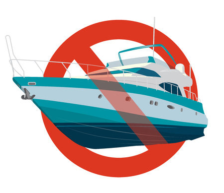 Prohibition of motor boat. Strict ban on construction of a motor boat, forbid. Stop speedboat. Sea yacht for fishing and leisure time. Vector illustration, isolated on white background.