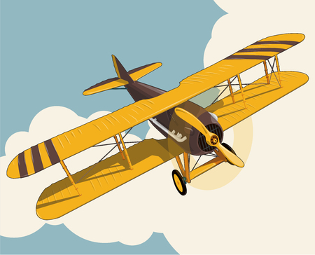 Yellow plane flying over the sky with clouds in vintage color stylization. Old retro biplane designed for poster printing. Vector low poly airplane illustration. Banner layout. Model aircraft, two wings. Vettoriali