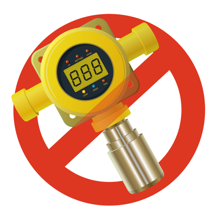 Prohibition of gas detector. Strict ban on construction of yellow gas meter, digital LCD display, forbid. Stop contamination. Vector low poly toxic gas consumption, sensor heater, adjustable values.