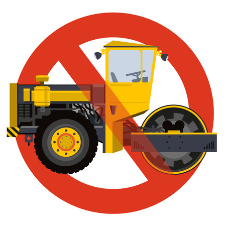 Prohibition of roadroller entry symbol. Heavy vehicles strict ban sign. Caution of construction machinery, ground works. Construction work steamroller forbid. Vector yellow big roller icon, isolated. Illustration