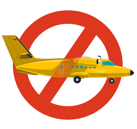 Prohibition of airplane. Strict ban on construction of aircraft, forbid. Stop World War. Beautiful vector of flying plane. Old retro yellow aircraft, isolated on white background.