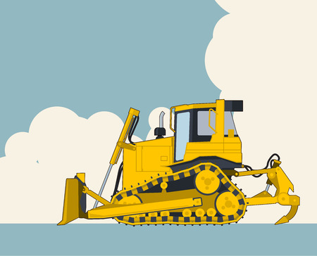 Big yellow excavator, sky with clouds in background. Banner layout with earth mover. Vintage color stylization. Construction machinery vehicle and ground works. Flatten illustration master vector. Ilustracja