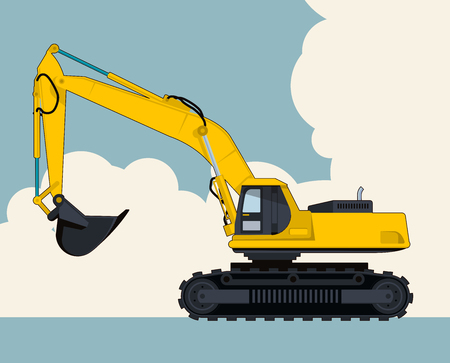 Big yellow excavator, sky with clouds in background. Banner layout with earth mover. Vintage color stylization. Construction machinery vehicle and ground works. Flatten illustration master vector. Illustration