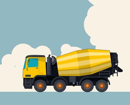 Ciężarówka duży żółty betoniarka, niebo z chmurami w tle. Układ banerowy z mieszalnikiem cementu. Stylizacja kolorystyczna w stylu vintage. Roboty budowlane w zakresie pojazdów i robót ziemnych. Ilustracja wektorowa.