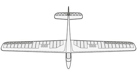 Model glider, ground plan. Beautiful subtle airplane. Balsa wood wings, model hobby. Outlined master vector wire illustration