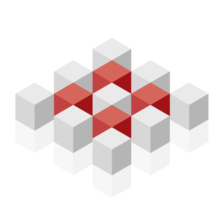 Abstract cube vector shape reminiscent of technological development, nanotechnology component. Isometric brand of scientific institution, research center, laboratories. Minimalistic block shape