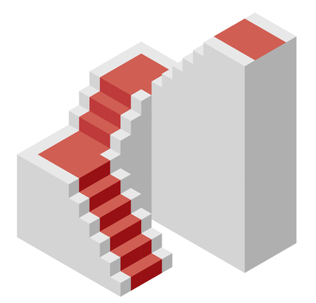 Vector cube shape evoking the ascending staircase. Minimalistic block like architectural stairs from aerated concrete, red carpet. Master isolated illustration, isometric exploration icon symbol