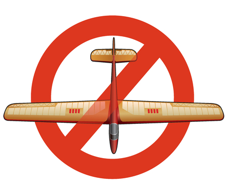 Prohibition of glider. Strict ban on construction of subtle airplane, forbid. Stop World War. Beautiful jet realistically drawn vector flying biplane. Old retro aircraft, isolated Illustration
