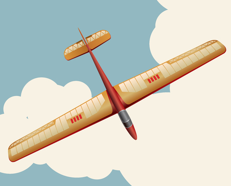 Model glider flying over sky with clouds in vintage color stylization. Old retro subtle airplane designed for poster printing. Balsa wood wings, model hobby. Master vector illustration