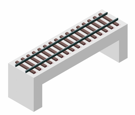 Vector train bridge in isometric 3d perspective isolated on white background. Industrial transportation building. Concrete architecture. Railway bridge with rail. Assembled riveted bridge construction
