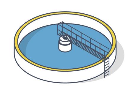 Impianto di trattamento delle acque reflue in un simbolo di struttura stilizzata. Infografica isometrica per edifici industriali. Trattamento delle acque comunali. Gestione dell'acqua potabile. Ecologia delle risorse idriche Vettoriali