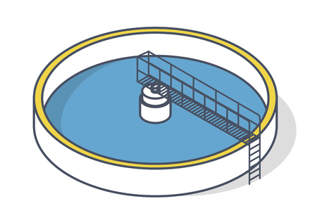 Kläranlage in einem stilisierten Umrisssymbol. Isometrische Infografiken für Industriegebäude. Kommunale Wasseraufbereitung. Trinkwassermanagement. Ökologie der Wasserressourcen Vektorgrafik