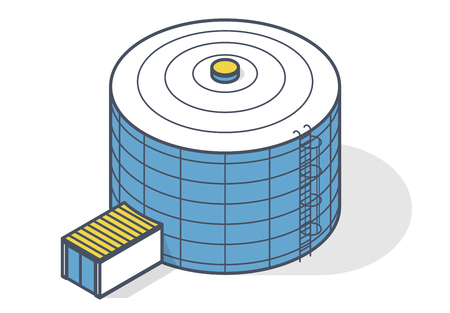 Tank for storage of water, gas, oil, oxygen and other solid fuels. Part of wastewater treatment plant, WWTP. Isometric symbol for water management, gasometer or deal with fuel and drinking water Illustration