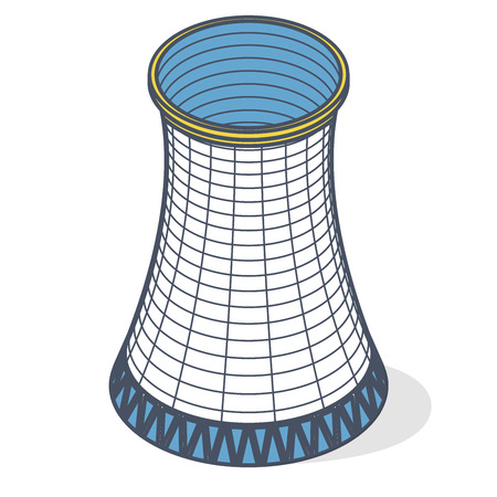 Cooling tower of power plant. Outlined concrete thermal power plant tower in isometric perspective with street lamps. Industrial architecture, power station tower, cylindrical building