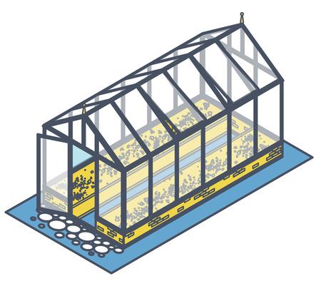 Geschetste isometrische broeikasgassen met glazen wanden, funderingen, zadeldak en tuinbed. Tuinbouwkas voor het verbouwen van groenten en bloemen. Klassiek cultiveren broeikasgassen