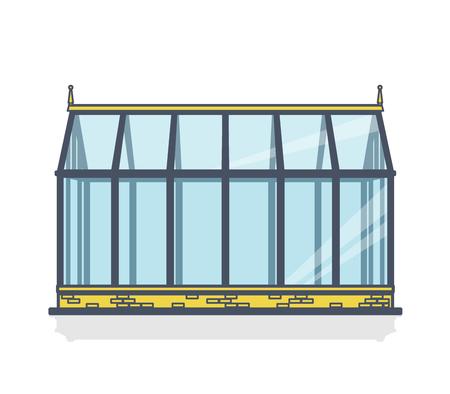 Umrissenes Gewächshaus mit Glaswänden, Fundamenten, Satteldach und Gartenbett. Gartenbaukonservatorium für den Anbau von Gemüse und Blumen. Klassischer Gartenbau im Gewächshaus