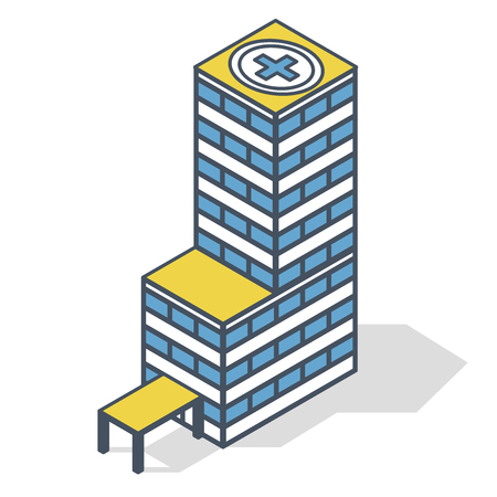 Outlined blue medical isometric building illustration. Blue and yellow pharmacy pictogram, clinical hospital.