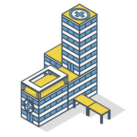 Outlined medical isometric building illustration. Blue and yellow pharmacy pictogram, clinical hospital. Flatten isolated master vector