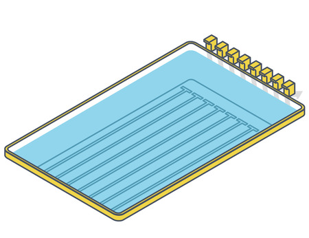 Swimming pool isometric on white background. Springboard for water jump. Outlined sport illustration