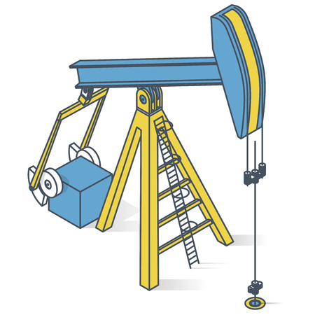 Oil extraction pump. Outlined oil industry, oilfield equipment. Mining equipment typical of Texas and USA. Industrial self-propelled machine. Isolated vector illustration