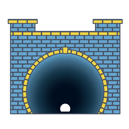 Vector railway low poly tunnel in front view, outline blue stylization. Isolated image on white background. Old stone circular tunnel with light at the end. Diminishing perspective picture