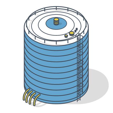 Grafico di informazioni costruzione isometrica del serbatoio dell'acqua di vettore. Serbatoio dell'acqua delineato. Risorsa di approvvigionamento idrico bianco. Pittogramma di detergente per chimica industriale con dettagli blu Vettoriali