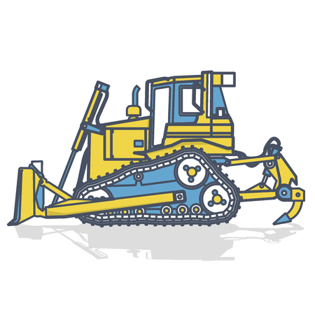 Blue yellow outlined large excavator, digger on white. Digging of ground. Construction machinery and ground works. Professional flatten isolated vector illustration