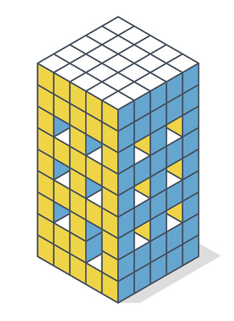 Outlined minimalistic block like building from aerated concrete. Vector cube shape evoking the rough construction of a house. Master isolated illustration, isometric construction industry icon symbol