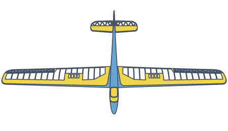 Outlined glider, beautiful subtle airplane model. Balsa wood wings, hobby model, ground plan. Master vector illustration