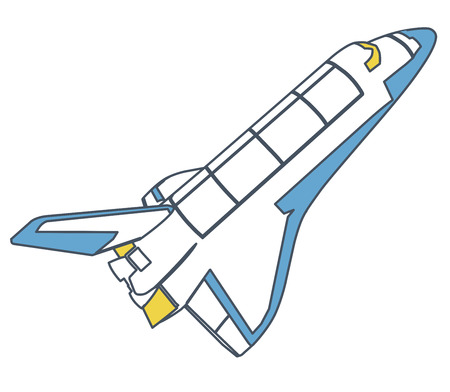 Outlined space shuttle, universe discovering. Yellow blue vector master illustration. Isolated flighting spaceshuttle, fuel tank, white background Stock Illustratie