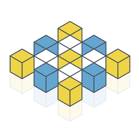 Abstract cube vector shape reminiscent of technological development, nanotechnology component. Outlined isometric brand of scientific institution, research center. Minimalistic block shape Stock Illustratie