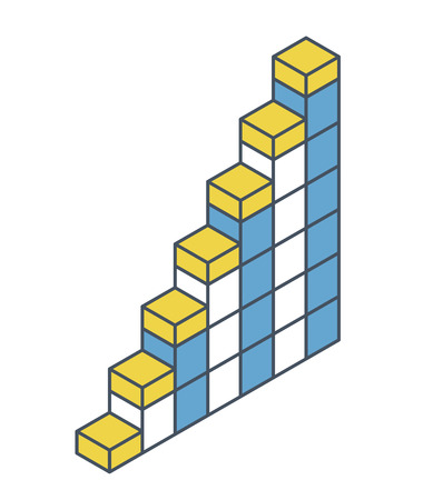 Vector cube shape evoking ascending staircase. Oulined minimalist block as architecture stairs from aerated concrete. Master isolated illustration, isometric exploration icon symbol Stock Illustratie