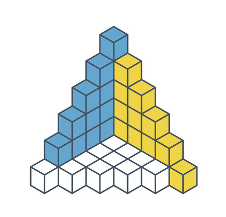 Outlined object in the shape of a pyramid. Abstract cube  shape reminiscent of technological development, nanotechnology minimalistic block component. Isometric brand of scientific institution, research center
