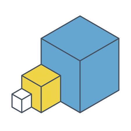 Abstract cube  shape reminiscent of technological development, nanotechnology component. Outlined isometric brand of scientific institution, research center. Minimalistic block shape Stock Illustratie