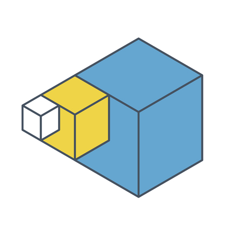 Abstract cube  shape reminiscent of technological development, nanotechnology component. Outlined isometric brand of scientific institution, research center. Minimalistic block shape Illustration